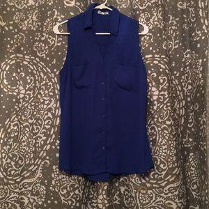 Blue Sleeveless Button Down